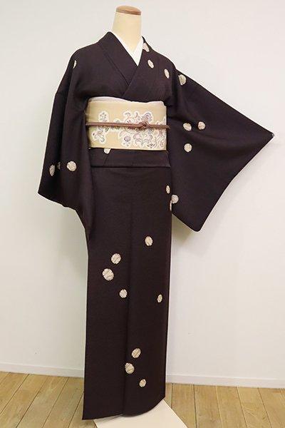 銀座【D-2437】小紋 黒鳶色 雪輪文(銀座世きね扱い)】