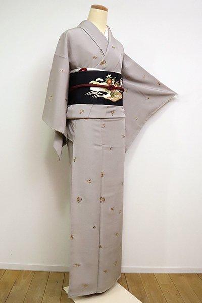 あおき【D-2438】(細め)刺繍小紋 枯野色 四季花文