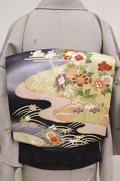 銀座【K-6579】染名古屋帯 黒色 四季花の図