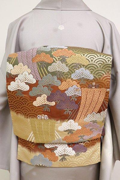 銀座【L-4928】唐織 袋帯 柿茶色×丁子色×草色 段に松や帆掛け船
