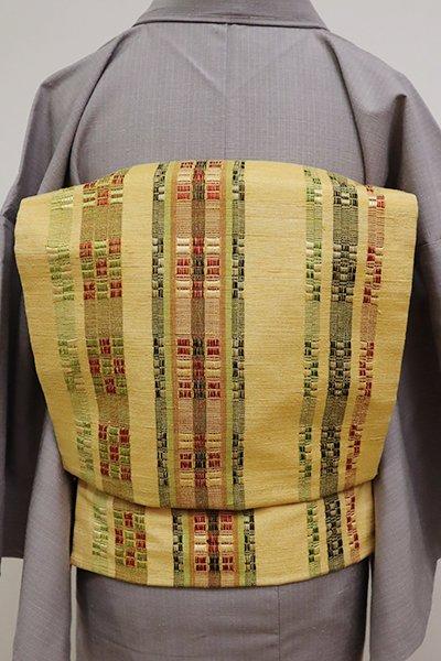 銀座【K-6580】ロートン織 紬地名古屋帯 黄支子色