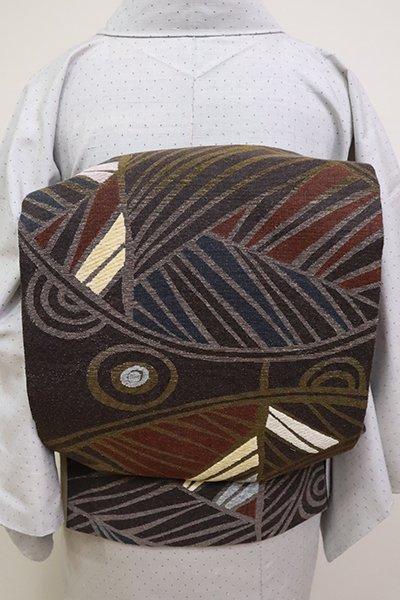 銀座【L-4929】洒落袋帯 黒橡色 真綿モール織 抽象文
