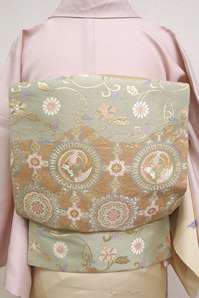銀座【L-4932】西陣 服部織物製 袋帯 香色地 名物裂文 (落款入)