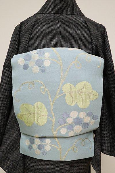 銀座【K-6585】洛風林製 織開き名古屋帯 秘色色 葡萄蔓文
