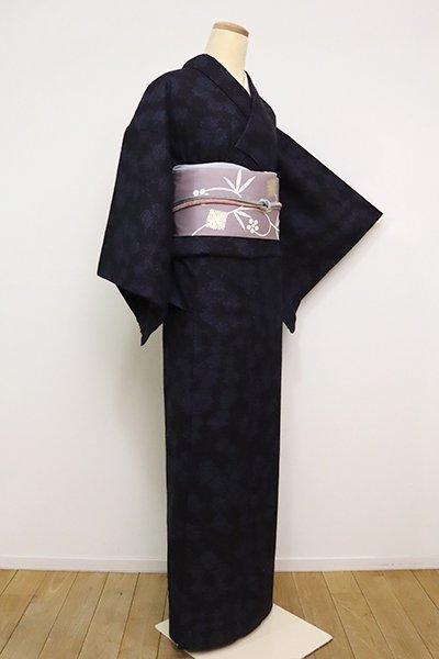 銀座【A-3025】本場結城紬 濃藍色 松皮菱 (三越扱い)
