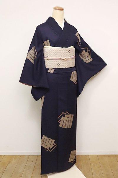 銀座【D-2442】(S) 小紋 紫黒色 源氏香の図