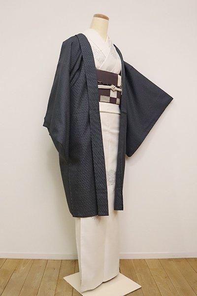 銀座【E-1214】羽織 黒色×鼠色 格子幾何文