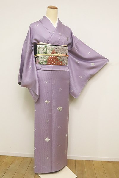 銀座【B-2489】総刺繍 付下げ 浅紫色 吉祥菱文
