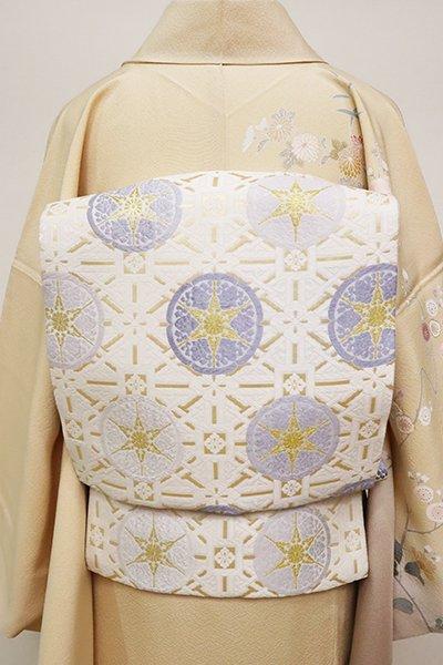 銀座【L-4937】西陣製 袋帯 白色 有職丸文(証紙付)(N)