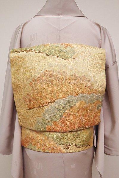 銀座【L-4940】西陣製 袋帯 金色 波頭に松の図