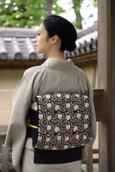 銀座【帯3262】貴久樹製 紬地袋帯 インド刺繍 更紗花文