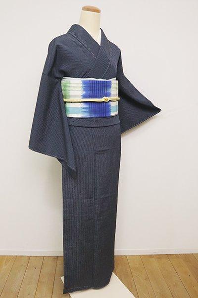 あおき【A-3028】(S・広め)本塩沢 濃藍色 竪縞