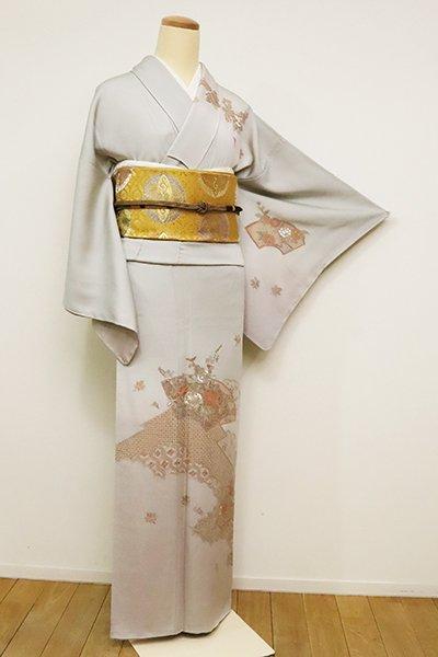 あおき【B-2492】スワトウ刺繍 訪問着 白鼠色 扇面に四季花の図