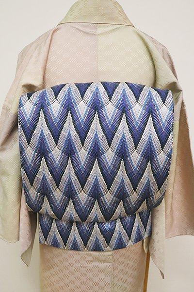 あおき【L-4945】組織り 洒落袋帯 深縹色 幾何文