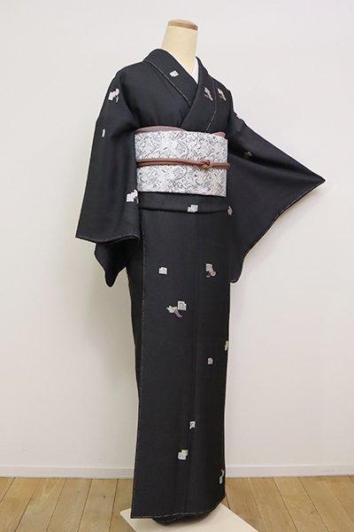 あおき【A-3030】縫取御召 蝋色 源氏香に藤や鳥兜など