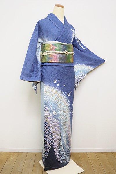 あおき【B-2500】訪問着 薄花桜色×灰青色 流水に花散らし (反端付)