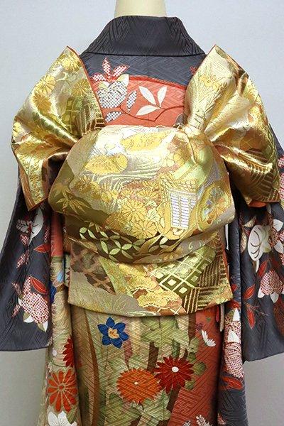 あおき【L-4949】西陣 川島織物製 本袋帯 金色 裂寄せ文 (落款入)
