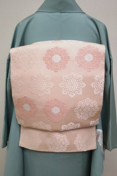 あおき【L-4950】袋帯 薄い珊瑚色 華文