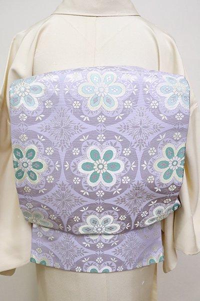 あおき【L-4951】西陣 となみ織物製 袋帯 藤色 花丸文 (証紙付) (N)