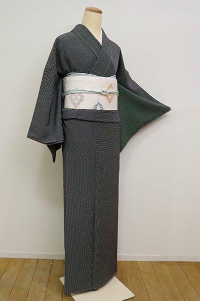 銀座【C-1810】江戸小紋 黒色 角通し(反端付)(N)