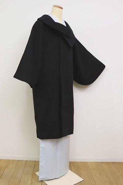 銀座【E-1218】ウール混 和装コート 黒色 無地(N)