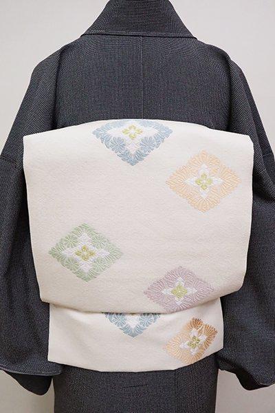 銀座【K-6603】西陣製 織名古屋帯 練色 有職菱文(証紙付)(N)