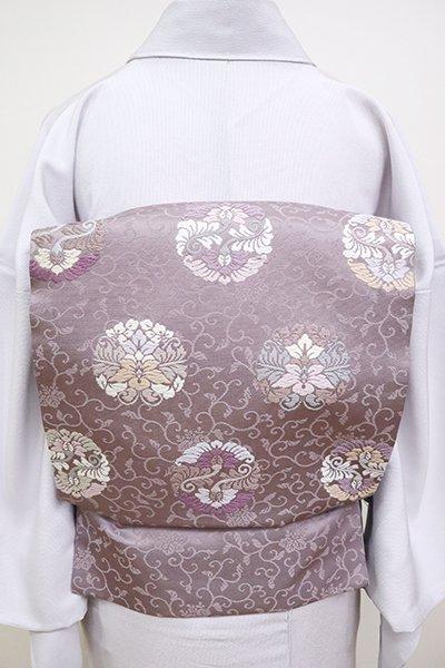 銀座【K-6606】織名古屋帯 葡萄鼠色 有職丸文