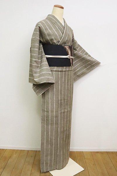 銀座【A-3033】紬 黄海松茶色 縞に段絣(反端付)