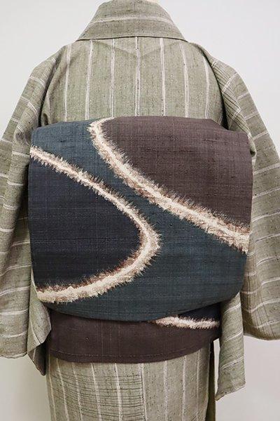 銀座【K-6608】紬地 染名古屋帯 錆鼠色 抽象文