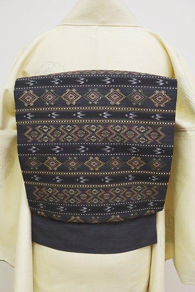 銀座【K-6609】琉球花織 名古屋帯 藍鉄色 装飾文の横段(長尺)