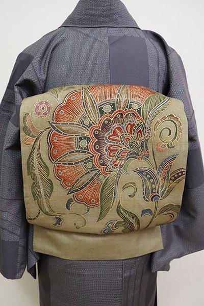 銀座【L-4956】紬地 洒落袋帯 黄海松茶色 唐花の図