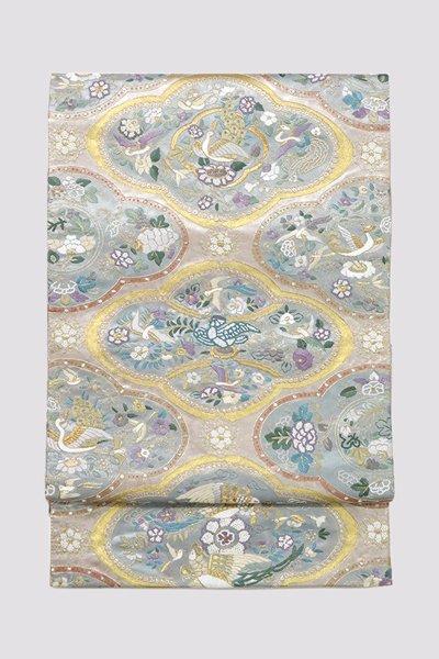 銀座【帯3265】蘇州刺繍 袋帯 窠文に花鳥の図