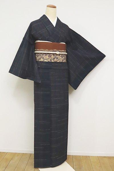 あおき【A-3039】(細め)紬 藍鉄色 縞に段絣