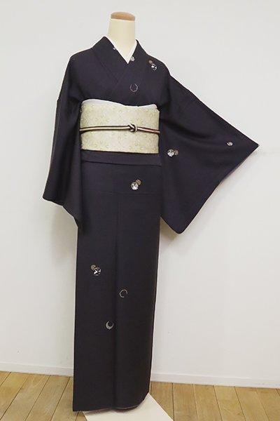 銀座【D-2445】刺繍 小紋 褐色 雪輪や兎など