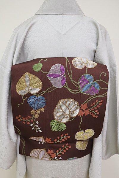 銀座【K-6615】西陣 帯屋捨松製 織名古屋帯 赤褐色 「小袖葵文」(落款入)
