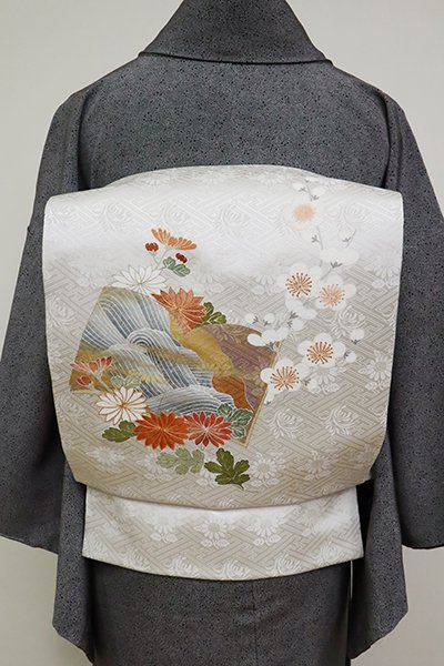 銀座【K-6616】染名古屋帯 白練色 冊子に梅と菊の花枝