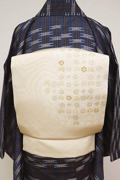 銀座【K-6617】塩瀬 染名古屋帯 薄卵色 装飾花文