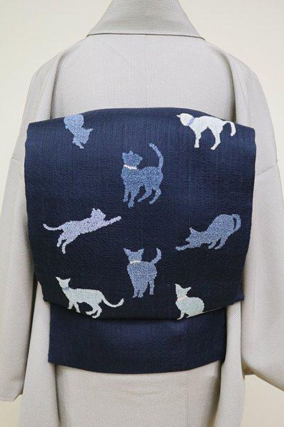 あおき【L-4957】西陣製 よろけ織 洒落袋帯 濃藍色 猫の図(証紙付)