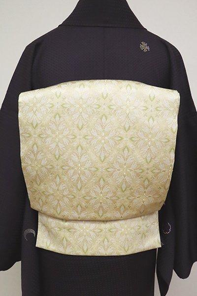 銀座【L-4958】袋帯 浅黄色 装飾菱文