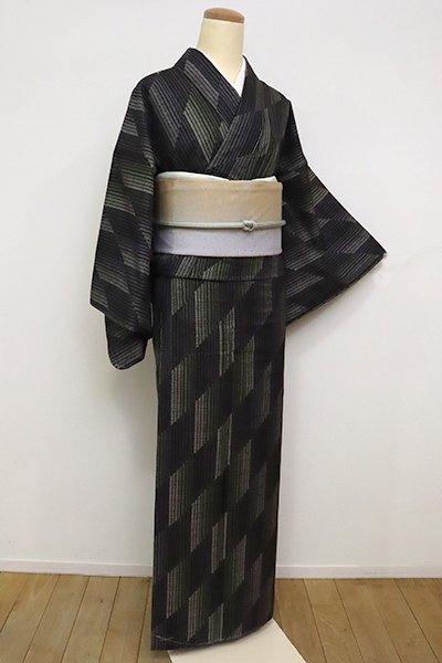銀座【A-3042】(広め)大島紬 檳榔子染色 幾何文