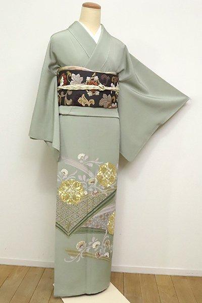 あおき【B-2504】(S)色留袖 繍一ッ紋 柳鼠色 唐花や華文など