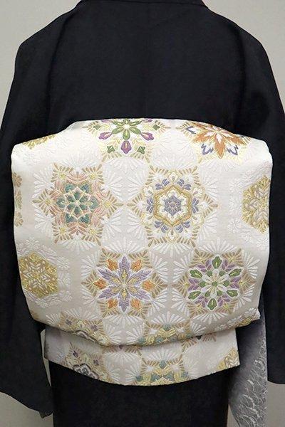 銀座【L-4961】西陣製 袋帯 白色 華文(証紙付)(N)