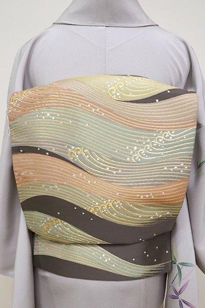 銀座【L-4967】西陣 祥園製 袋帯 黒橡色 波文(落款入)
