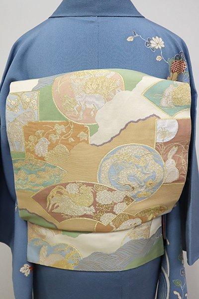 銀座【L-4968】西陣 川島織物製 本袋帯 練色 道長取りに干支文様(落款入)