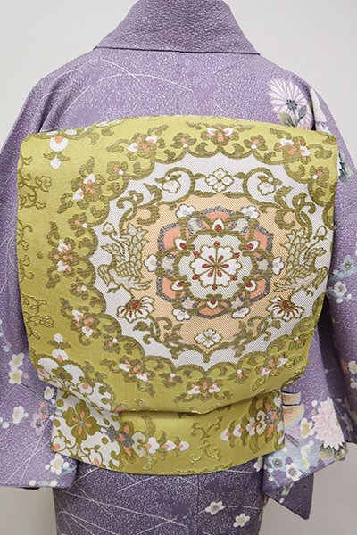 銀座【L-4970】袋帯 金華山織 芥子色 華文