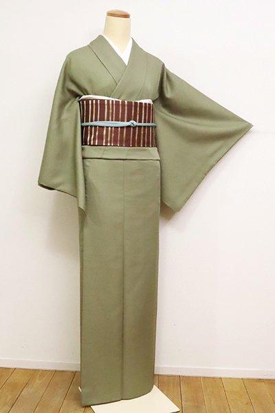 銀座【C-1826】(細め)きもの英製 繍一ッ紋 色無地 柳茶色