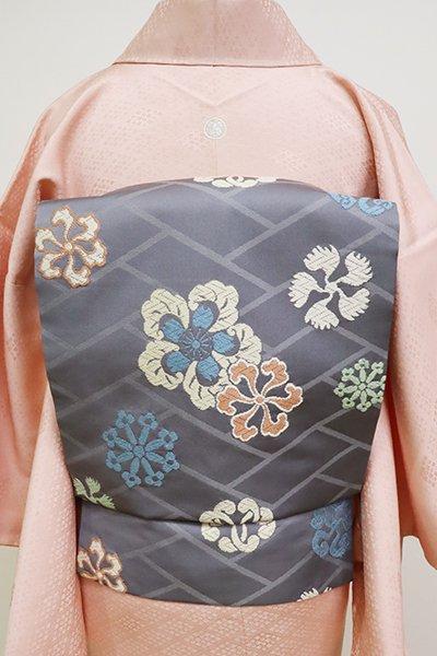銀座【K-6630】西陣 川島織物製 織名古屋帯 藍墨茶色 檜垣に鉄線文など(落款入)