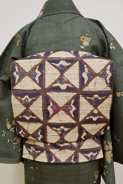 銀座【L-4971】野蚕糸紬地 洒落袋帯 枯色 幾何文