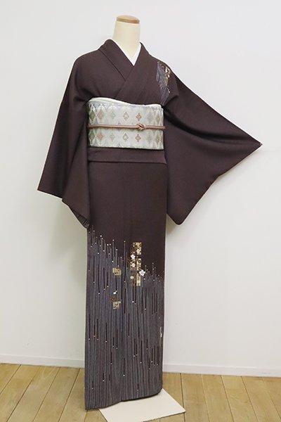 銀座【B-2509】(広め)付下げ 黒鳶色 源氏香の図