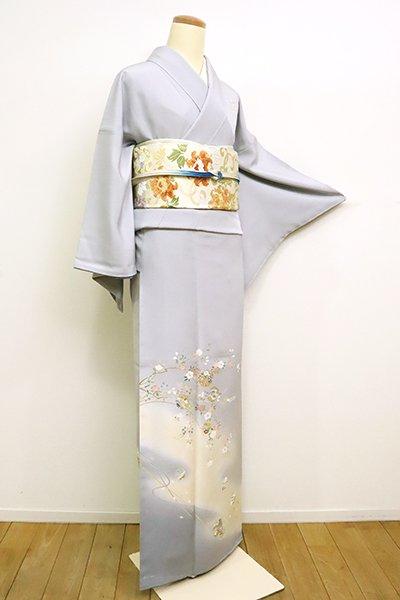 銀座【B-2510】付下げ 白花色 花枝に雪輪や地紙文